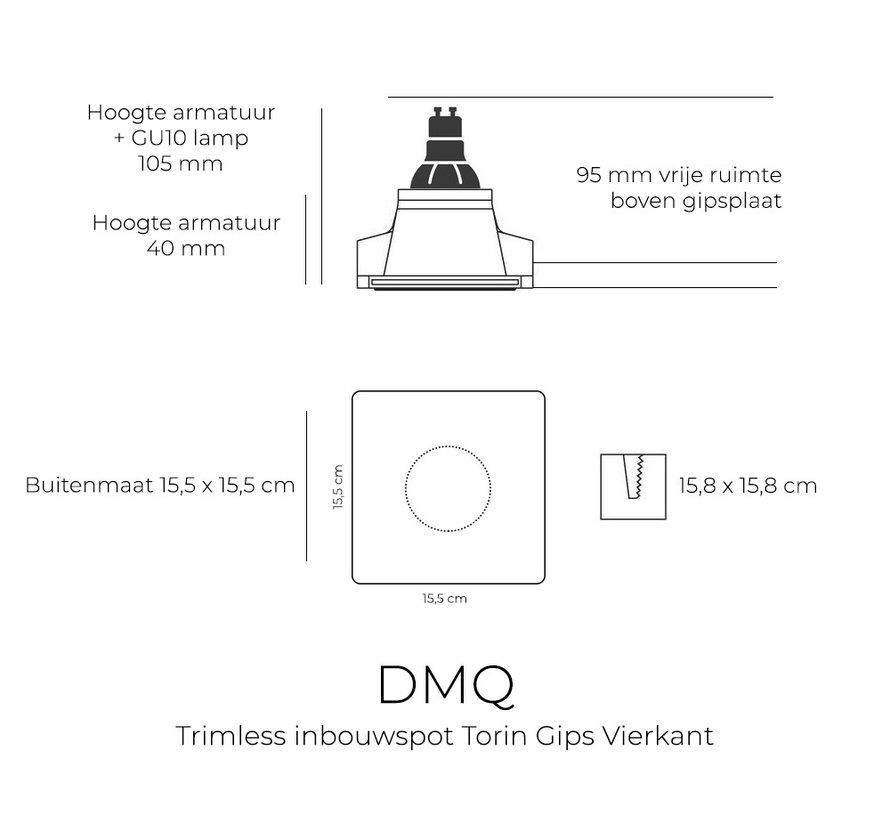 Trimless Inbouwspot Torin Gips GU10 Vierkant Kantelbaar