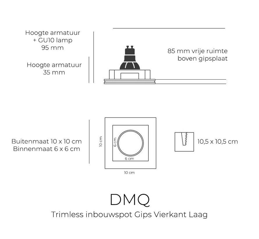 Inbouwspot Brix Gips Vierkant GU10 Lage inbouwdiepte