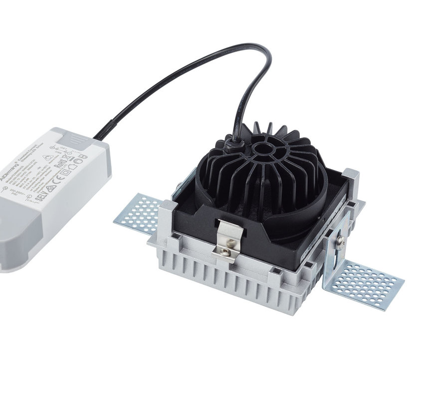Trimless inbouwspot Rezo vierkant zwart - IP44 waterdicht LED