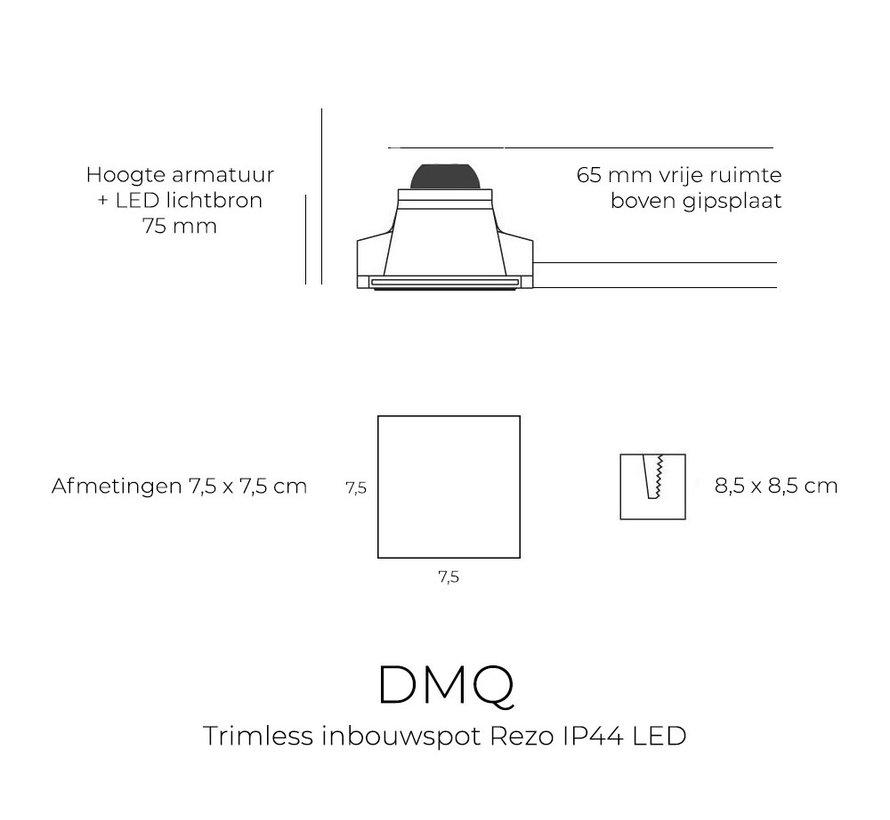 Trimless inbouwspot Rezo vierkant wit - IP44 waterdicht LED