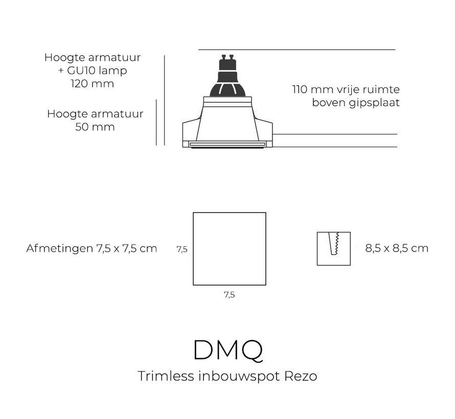 Trimless inbouwspot Rezo vierkant zwart - GU10