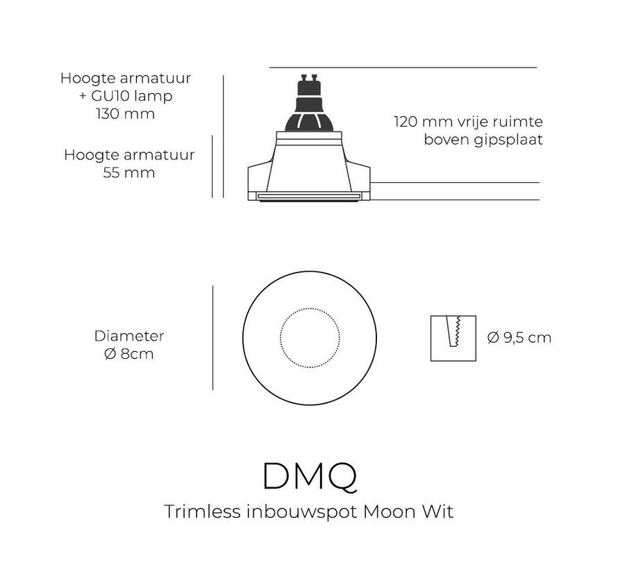 Trimless inbouwspot GU10 Moon 1 Rond Zwart