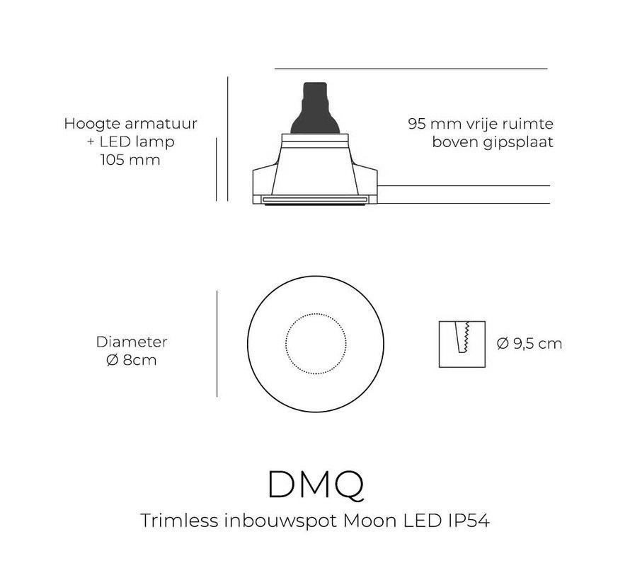 Trimless inbouwspot Moon 1 Rond Zwart - IP54 Waterdicht
