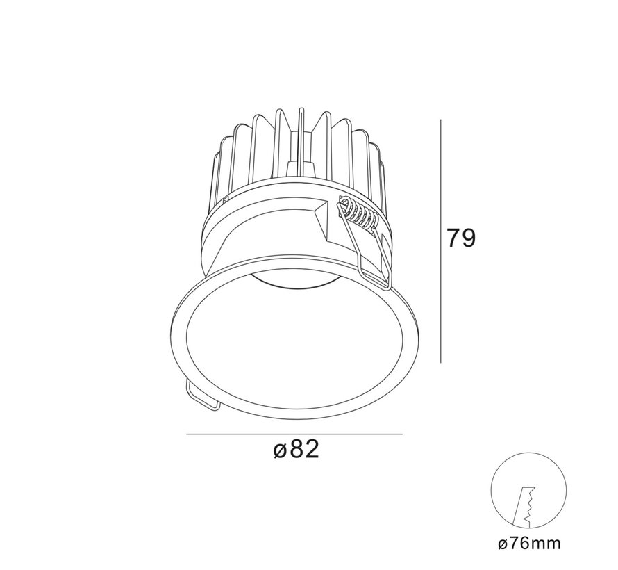 Inbouwspot IP54 LED Luna 1 Rond Wit - Extra kleine rand