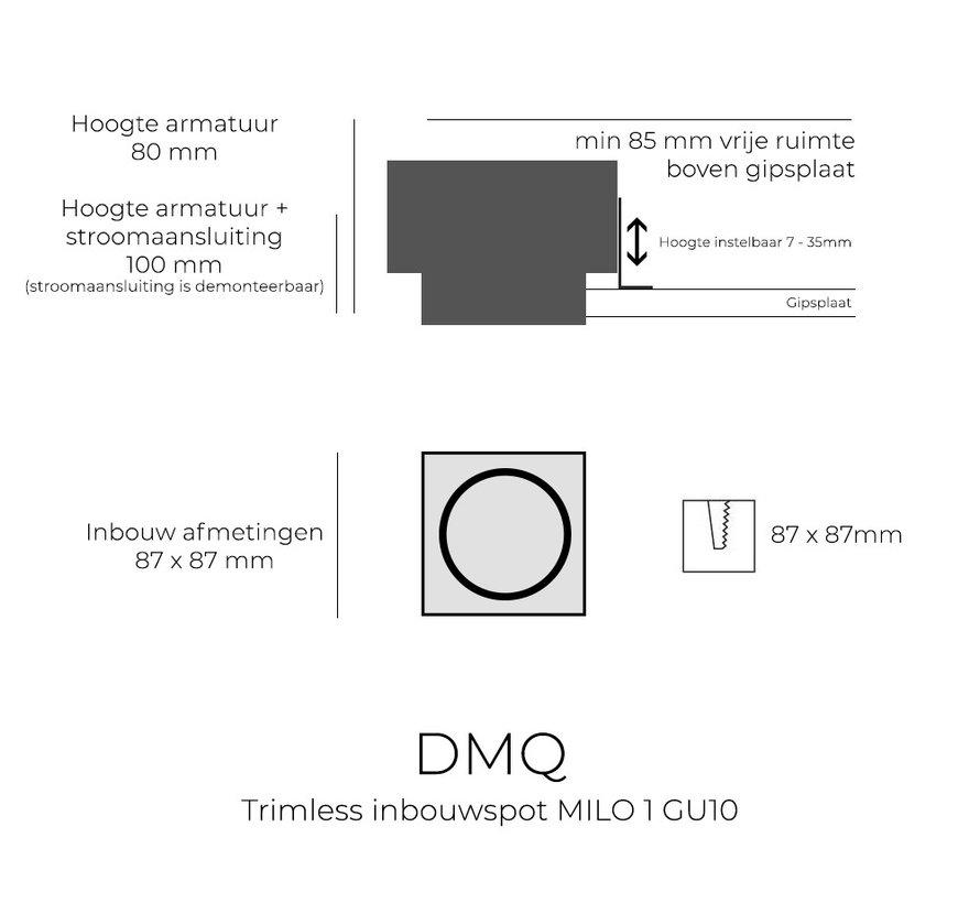 Trimless inbouwspot GU10 Milo 1 Zwart
