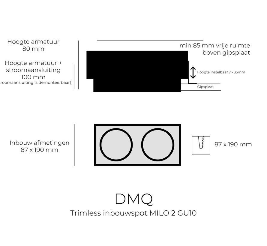 Trimless inbouwspot GU10 Milo 2 Zwart