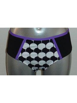 Sapph Sapph Playa Grandi Shorty mt XL zwart print purple dots wit