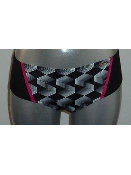 Sapph Sapph Diaz Bay Shorty mt M & XXL kleur zwart met print wit & pink