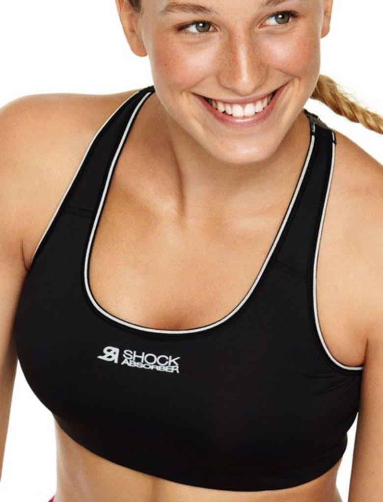Shock Absorber Shock Absorber  Crop Sport Top zonder beugel & licht voorgevormde cup kleur zwart & corail