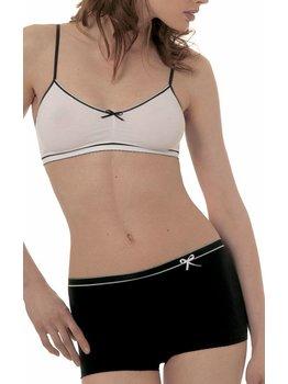 Dim ondergoed Dim Free Feeling microfaser Bh-Top met verstelbare schouderbandjes wit bies zwart