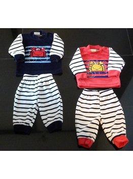 Lunatex Lunatex kreeft velours baby pyjama rood of marineblauw gestreept