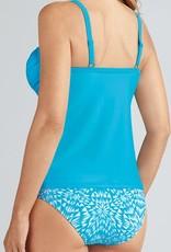 Amoena Amoena Hawaii prothese tankini zonder beugel & bikinislip kleur turquoise met wit