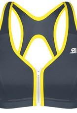 Shock Absorber Shock AbsorberActive Zipped Plunge sport  Bh zonder beugel kleur grijs bies geel