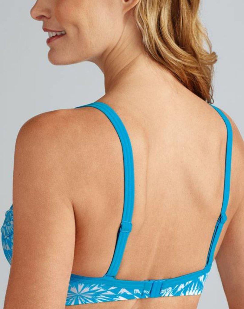Amoena Amoena Hawaii prothese bikini top zonder beugel kleur turqouise met wit