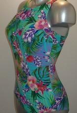 Susa Celine prothese badpak zonder beugel turqouise met tropische print mt B40