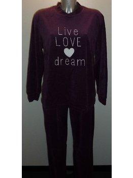 Lunatex Lunatex Esmee velours meisjes pyjama kleur purple