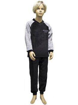Lunatex Lunatex Brian velours jongenspyjama kleur zwart met mouwinzet kleur grijs