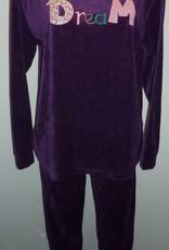 Lunatex Lunatex Ellen velours meisjespyjama purple met stoffen applicatie DREAM