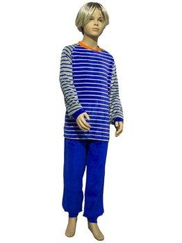Lunatex Lunatex Beau velours jongenspyjama kleur blauw of grijze streepprint broek uni kleur blauw