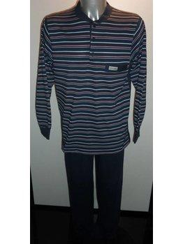 Lunatex Lunatex Quinn single jersey heren pyjama marineblauw gestreept mt L
