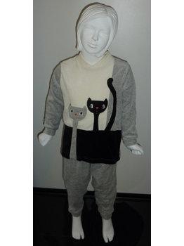 Lunatex Lunatex Leeza velours meisjes pyjama ivoor, zwart of grijs met poezen applicatie
