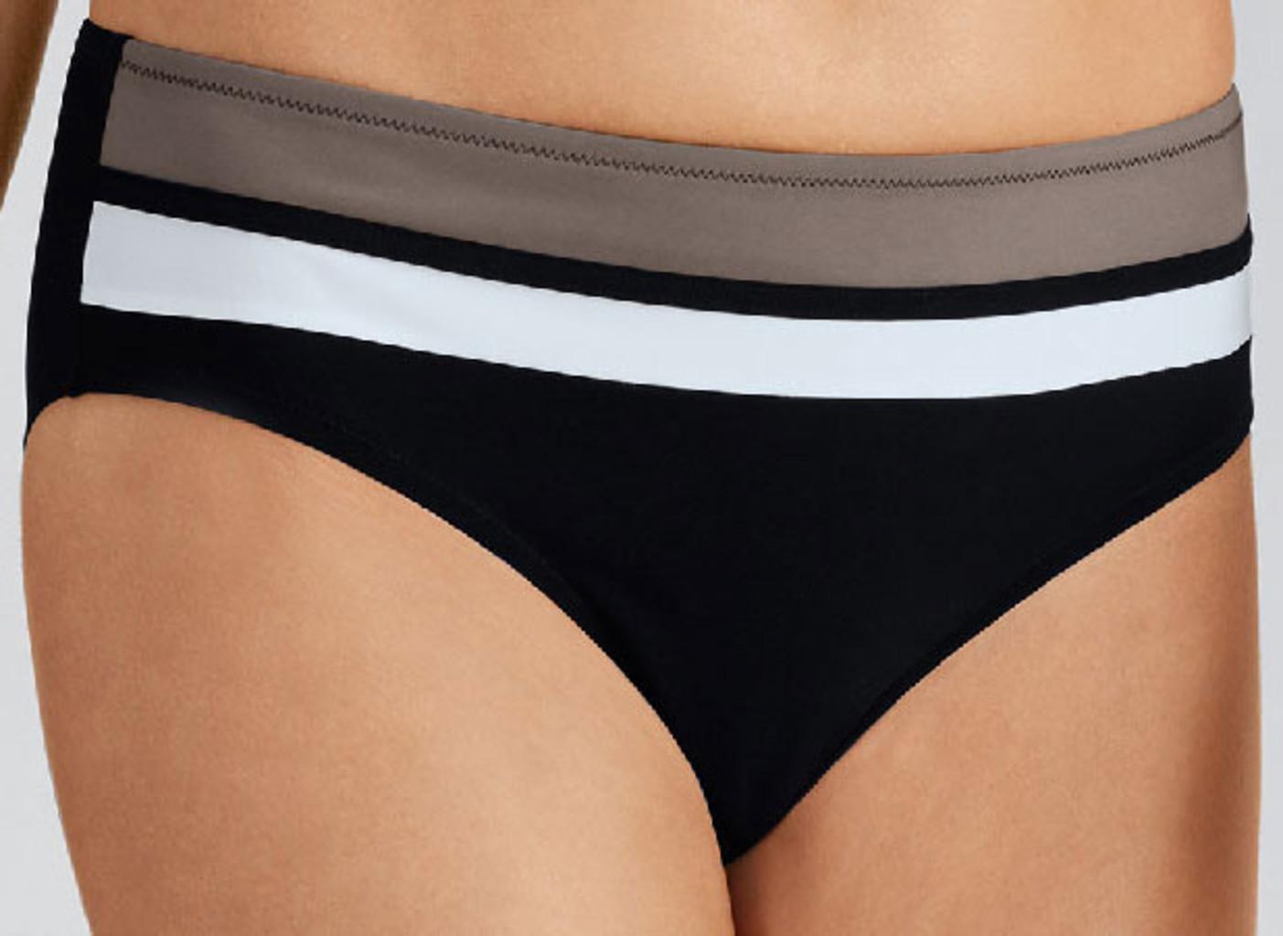 Amoena Amoena Paros chloorbestendige bikinislip kleur zwart gecombineerd met wit en taupe kleur