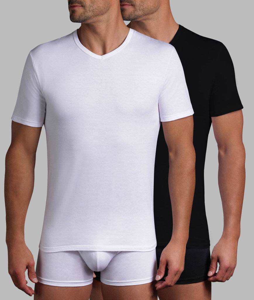 Dim ondergoed Dim- XTemp tweedelig shirtset met V-hals mt S t/m L basis kleur wit of zwart