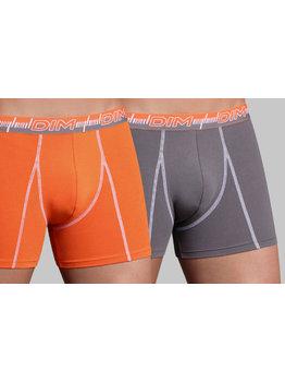 Dim ondergoed Dim-3D Flex Dynamic tweedelig Cotton Stretch boxershortset kleur grijs & oranje mt M of  XL