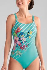 Amoena Amoena Honolulu prothese badpak zonder beugel & licht voorgevormd cup kleur turqouise met print bloem