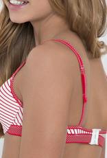 Boobs & Bloomers Boobs & Bloomers Anny katoenen Bh zonder beugel in wit met rode streepprint