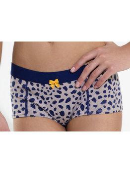 Boobs & Bloomers Boobs & Bloomers Odessa hoge katoenen boxershort grijs met print dots marineblauw