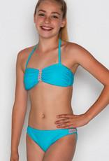 Boobs & Bloomers Boobs & Bloomers Fiene Bandeaubikinitop & bikinibroekje kleur turkoois
