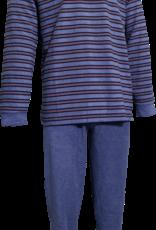 Lunatex Lunatex  Jarno badstof herenpyjama met V hals jasje grijs gestreept broek uni kleur grijs