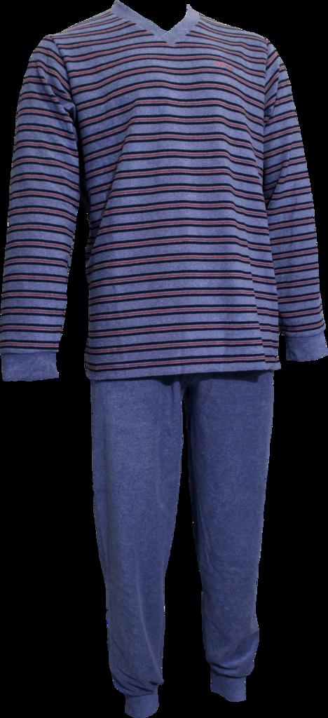 Lunatex  Jarno badstof herenpyjama met V hals jasje grijs gestreept broek uni kleur grijs