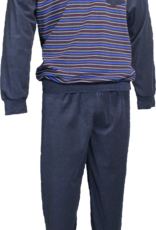 Lunatex Lunatex Jivan badstof herenpyjama met V hals jasje grijs gestreept broek uni kleur grijs