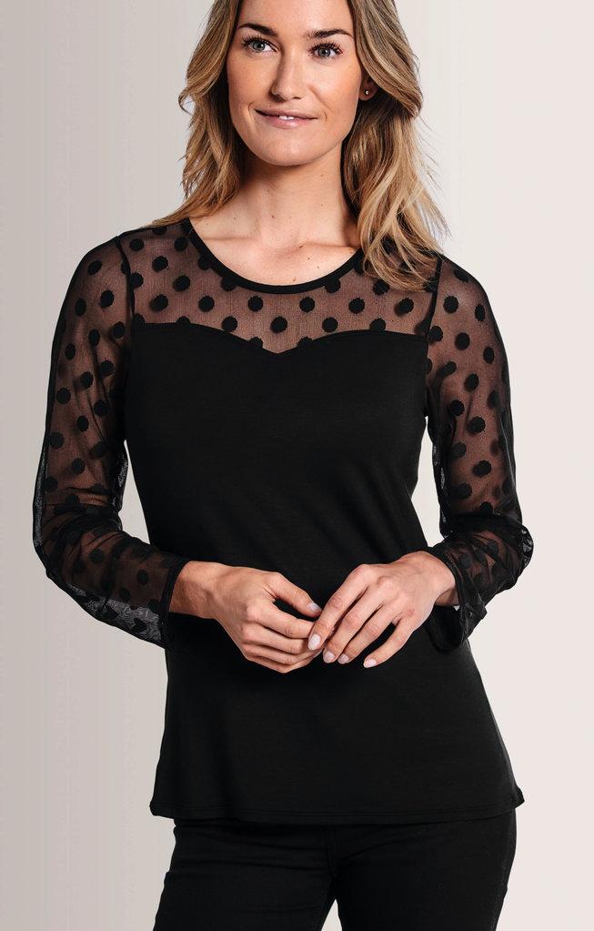 Amoena Amoena Heart Neckline Top met lange mouw kleur zwart