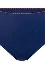 Amoena Amoena Alabama hoge  bikinislip zwart met blauw met print kleur brique aan bovenrand