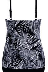 Amoena Amoena  Florida prothese tankinitop in blouson model kleur zwart met print wit gecombineerd met zilver