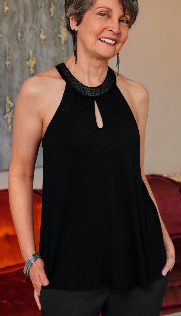 Amoena Amoena  prothese Top kleur zwart met lovertjes aan halslijn