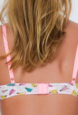 Boobs & Bloomers Boobs & Bloomers Michella katoenen Bh zonder beugel kleur wit met print