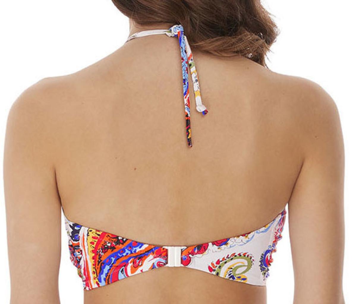 Freya Freya Rococo bandeau bikinitop met beugel & lichte voorvorm basis kleur wit met paisly print
