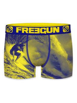 FreeGun Alex  micro long boxershort kleur blauw met geel gecombineerd en foto print surfer