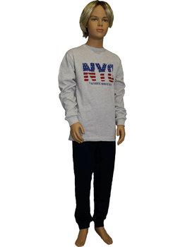 Lunatex Lunatex  Jowell katoenen single jersey jongenspyjama grijs met kleur navy tekst NYC