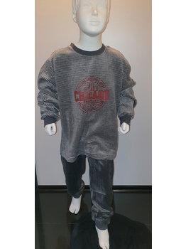 Lunatex Lunatex Chicago  velours jongenspyjama kleur grijs