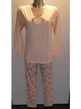 Lunatex Lunatex katoenen meisjes pyjama met schildpadjes kleur zalmroze of licht blauw mt 152/164