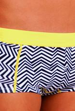 Boobs & Bloomers Boobs & Bloomers Zig Zag boxershort graphic print zwart & wit met gele contrastbies
