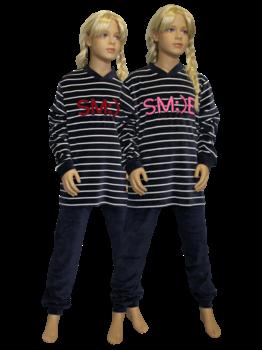 Lunatex Lunatex Evi velours meisjes pyjama kleur navy mt 140 t/m 188