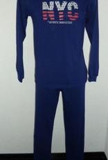 Lunatex Lunatex  Jowell katoenen single jersey jongenspyjama  marineblauw tekst NYC kleuren rood en grijs