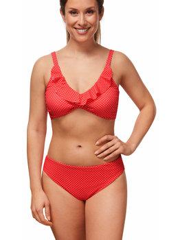 Amoena Amoena Romantic Downtown prothese bikinitop met reversibel bikinislip kleur hibiscus print stip wit