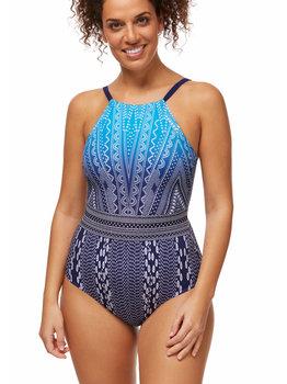 Amoena Amoena Bohemian Chic hooggesloten prothese badpak zonder beugel,licht voorgevormd kleur water Blue met print